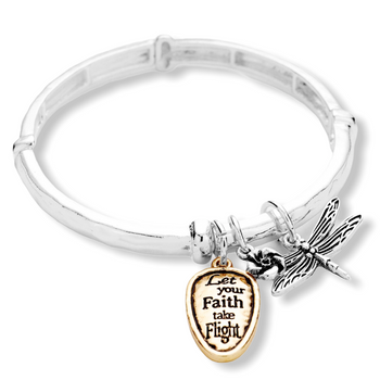 """LET YOUR FAITH TAKE FIGHT"" DRAGONFLY CHARM STRETCH BRACELET"
