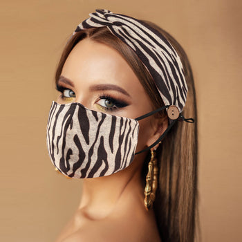ZEBRA PRINT COTTON MASK AND HEADBAND SET