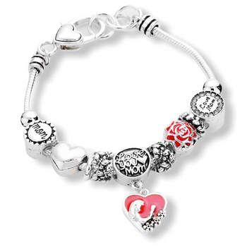 """LOVE YOU MOM"" CHARM MULTI BEAD BRACELET"