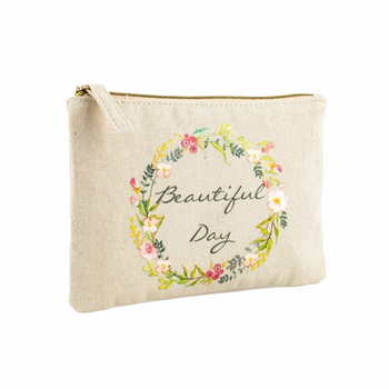 Beautiful day _ Cotton canvas pouch bag