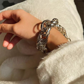 MULTI LAYERED TWIST SILVER CHAIN BRACELET