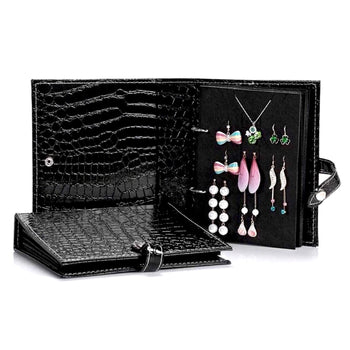 CROCO FAUX LEATHER TRAVEL EARRINGS BOOK
