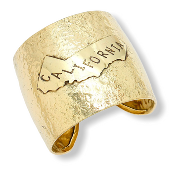 CALIFORNIA STATE MAP HAMMERED WIDE METAL CUFF BRACELET
