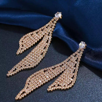 AAA ZIRCONIA RHINESTONE DANGLE EARRINGS
