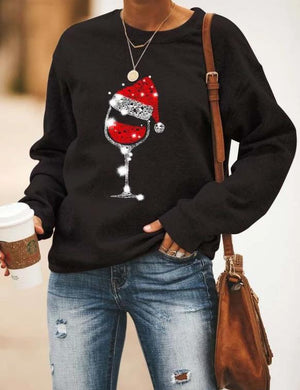 Cozy Christmas Wine Classic Long Sleeve Sweatshirt In Black