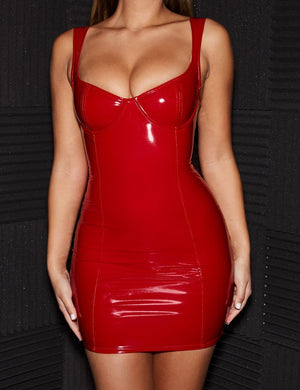 Vinyl Mini Bodycon Dress - Missbodybra