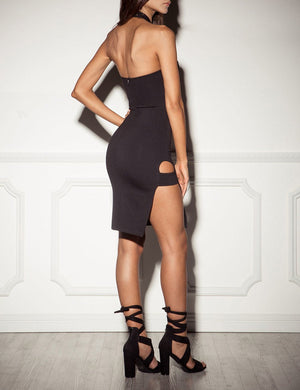 X Strap Cut Out Bodycon Dress - Missbodybra