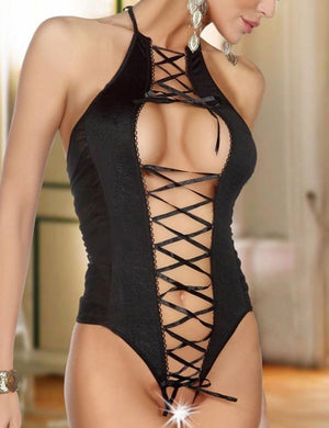Halter Lace Up Open Crotch Teddy - Missbodybra