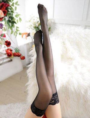 Sheer Thigh High Lace Top Stockings - Missbodybra