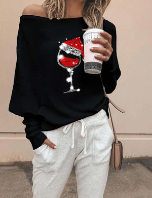 Cozy Christmas Wine Classic Off Shoulder Sweatshirt