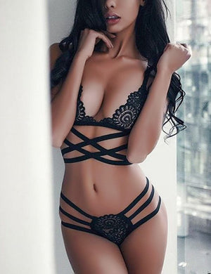 Bandage Cross Bralette & Thong Set - Missbodybra