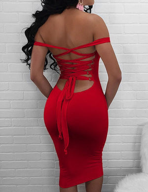 Off Shoulder Lace Up Bodycon Dress - Missbodybra