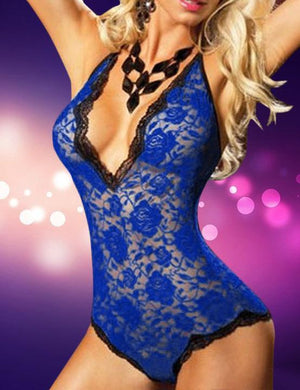 Plus Size Plunge neck Lace Teddy