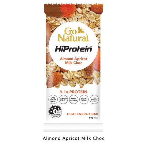 Go Natural Hi Protein page almond apricot milk choc high energy bar healthy snack