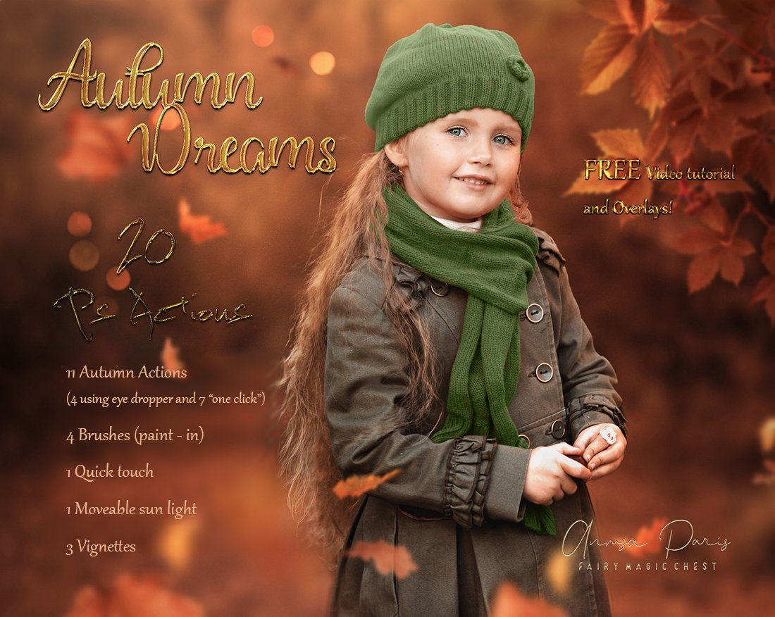 "Editing with ""Autumn Dreams"" Photoshop Actions. Free video."