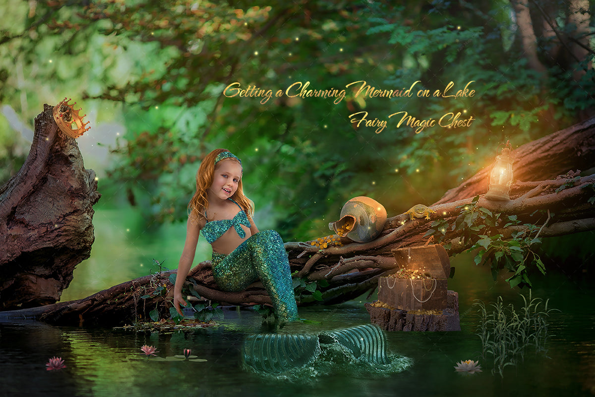 Digital background for mermaid. Using clone stamp tool in Photoshop