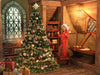Christmas digital background, old fairy tale house , charming room