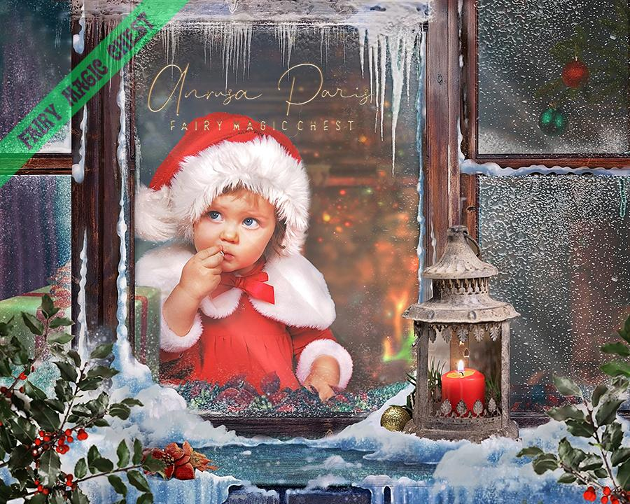 anrusa-paris-fairy-magic-chest - Snowy window - Christmas Digital Background / Backdrop - Fairy Magic Chest & Anrusa Paris - digital background / backdrop