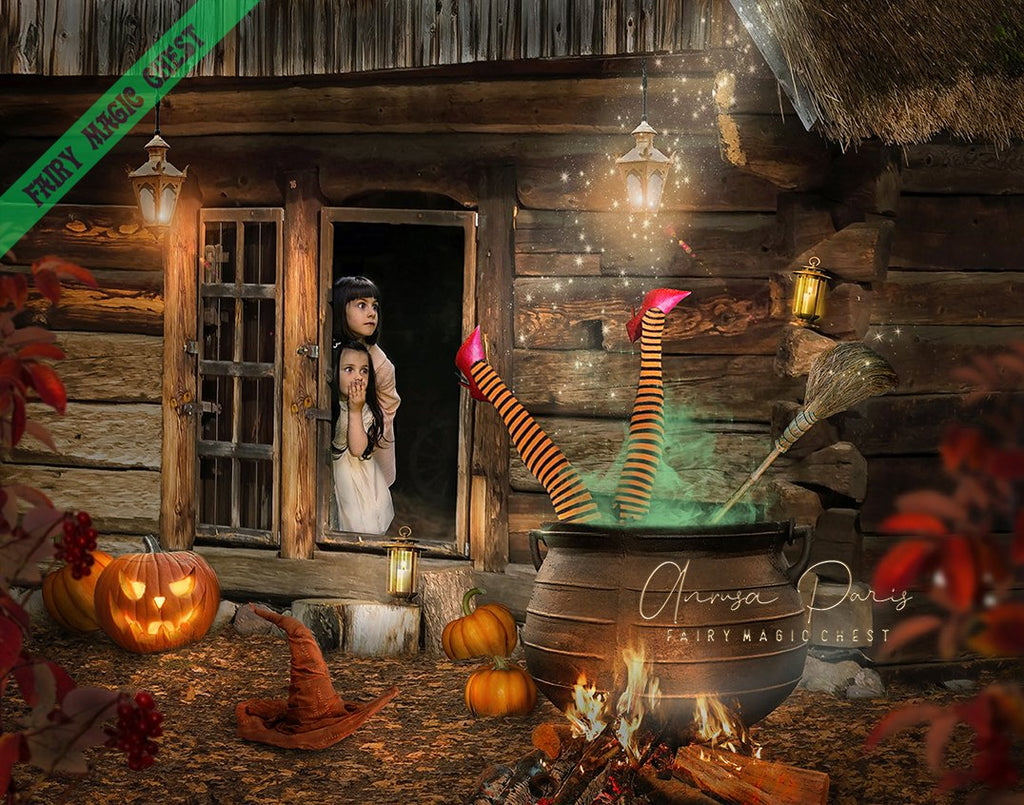 anrusa-paris-fairy-magic-chest - Digital background / backdrop funny Halloween , witch in cauldron - Fairy Magic Chest & Anrusa Paris - digital background / backdrop