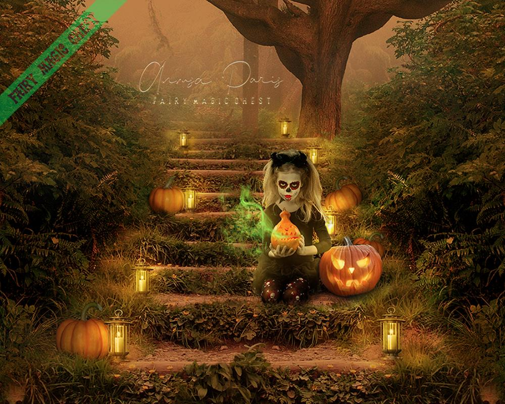 anrusa-paris-fairy-magic-chest - Digital background / backdrop Halloween themed , Jack O lantern on stairs - Fairy Magic Chest & Anrusa Paris - digital background / backdrop
