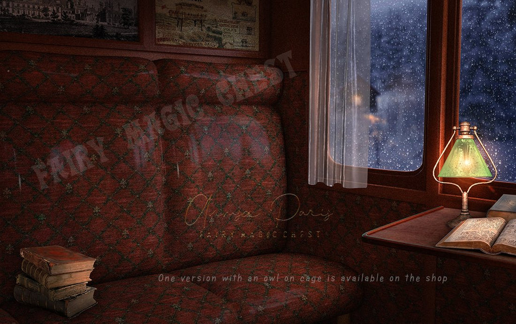 Vintage train compartment digital background