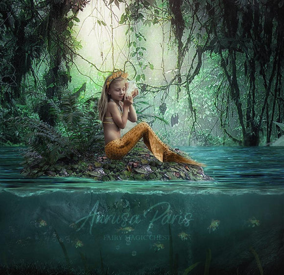 Digital background mermaid on lake