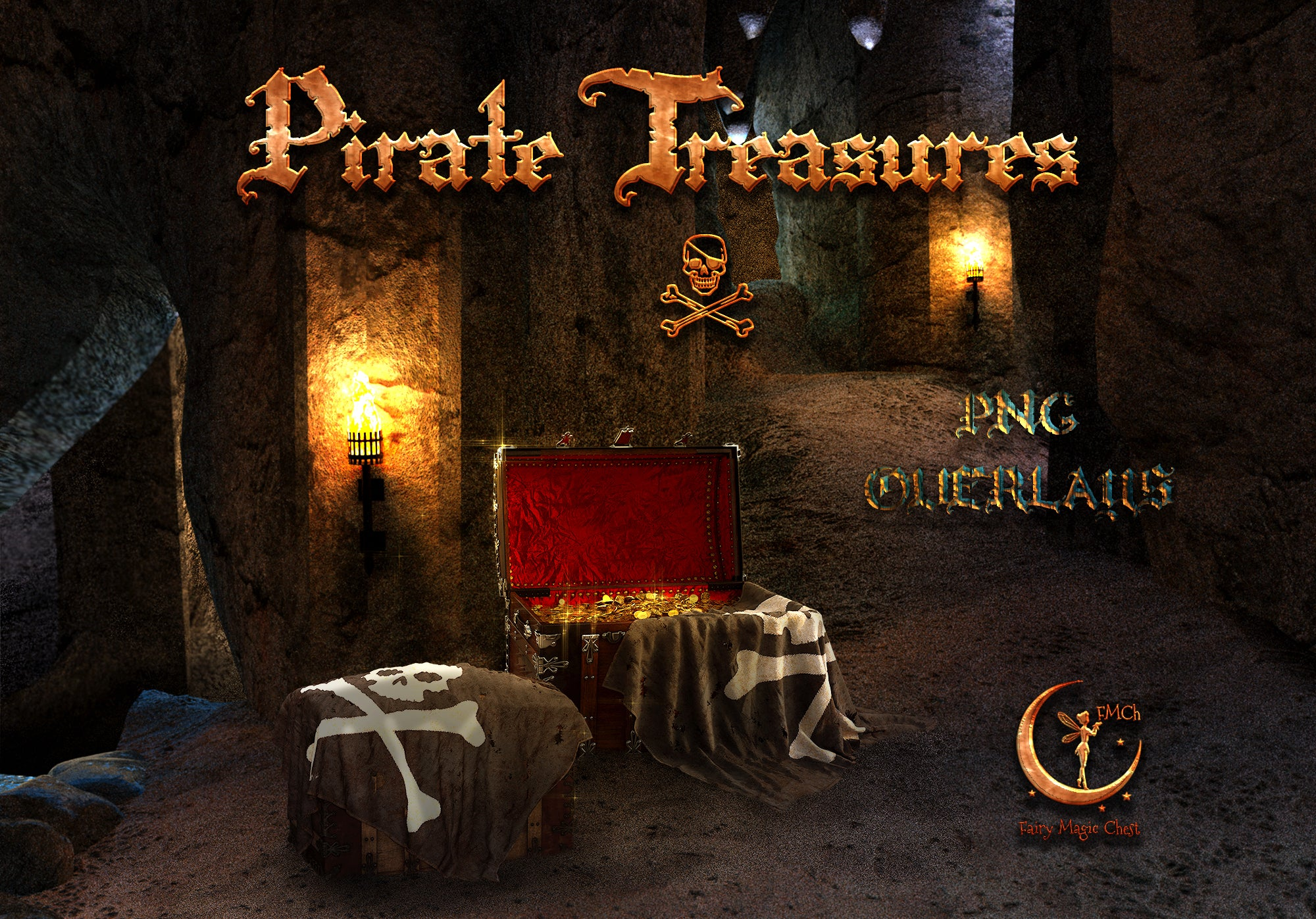 Pirate treasure chest , png overlays