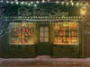 Christmas digital background / backdrop with old Toys Shop , green color, old vintage shop for photography and Photoshop