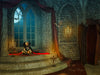 Mysterious room in castle digital background, big window, old coffin, bats, digital backdrop great for Halloween