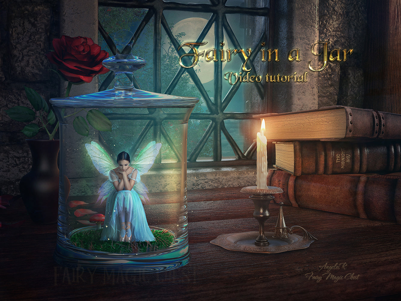 Video Tutorial. Complete Work of Compositing and Image Processing. Fairy in a Jar.