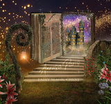 Digital background / backdrop stairs and magical book