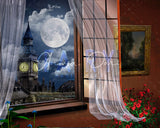 Digital backdrop / background London view , night , window