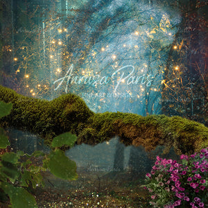 anrusa-paris-fairy-magic-chest - Fairy digital background , digital backdrop , branch with moss - Anrusa Paris & Fairy Magic Chest - digital background / backdrop