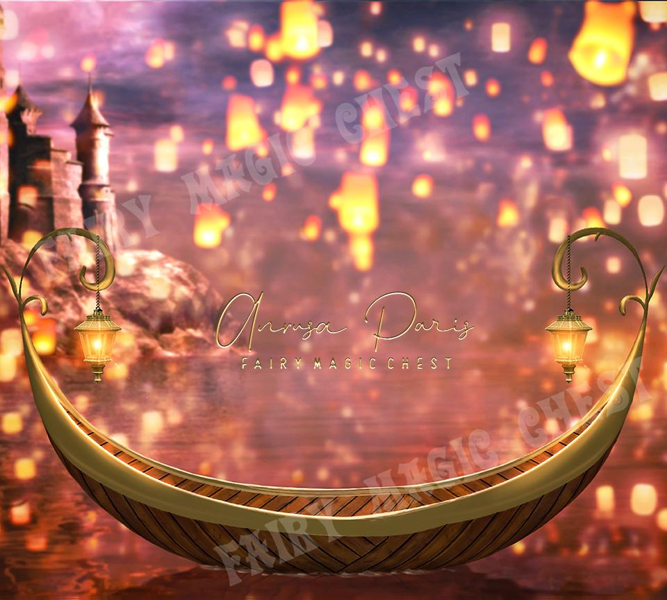 Digital background floating lanterns and boat