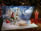 Digital background / backdrop unicorn on Christmas card