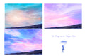 3 digital backgrounds / backdrops , dreamy fantasy, sky and sea, ideal for painterly portrait style