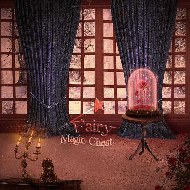 "anrusa-paris-fairy-magic-chest - ""Beauty and the Beast"" digital background with enchanted rose - Anrusa Paris & Fairy Magic Chest - digital background / backdrop"