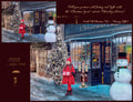 Digital backdrop / background , Christmas shop on old vintage street, snow overlay included.