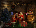 Christmas digital backdrop . Santa Claus in his cottage reading the list by the fireplace, digital background for photography and Photoshop