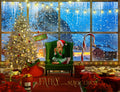 Christmas digital backdrop . Big window in the North Pole , digital backdrop for photography and Photoshop .