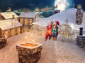 Christmas digital backdrop, magic on the rooftops and chimneys when Santa passes by with the sleigh