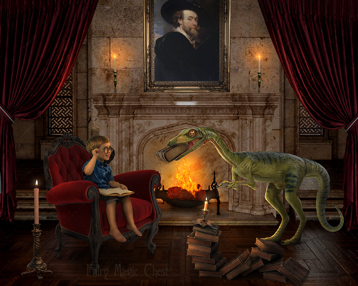 Dinosaur digital background, digital backdrop for photography, dinosaur in the castle library