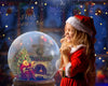 Christmas digital backdrop . Santa in SnowGlobe, digital background with snow globe,
