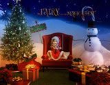 Christmas digital backdrop . Santa ' s armchair and snowman in the North Pole, digital backdrop for photography and Photoshop .