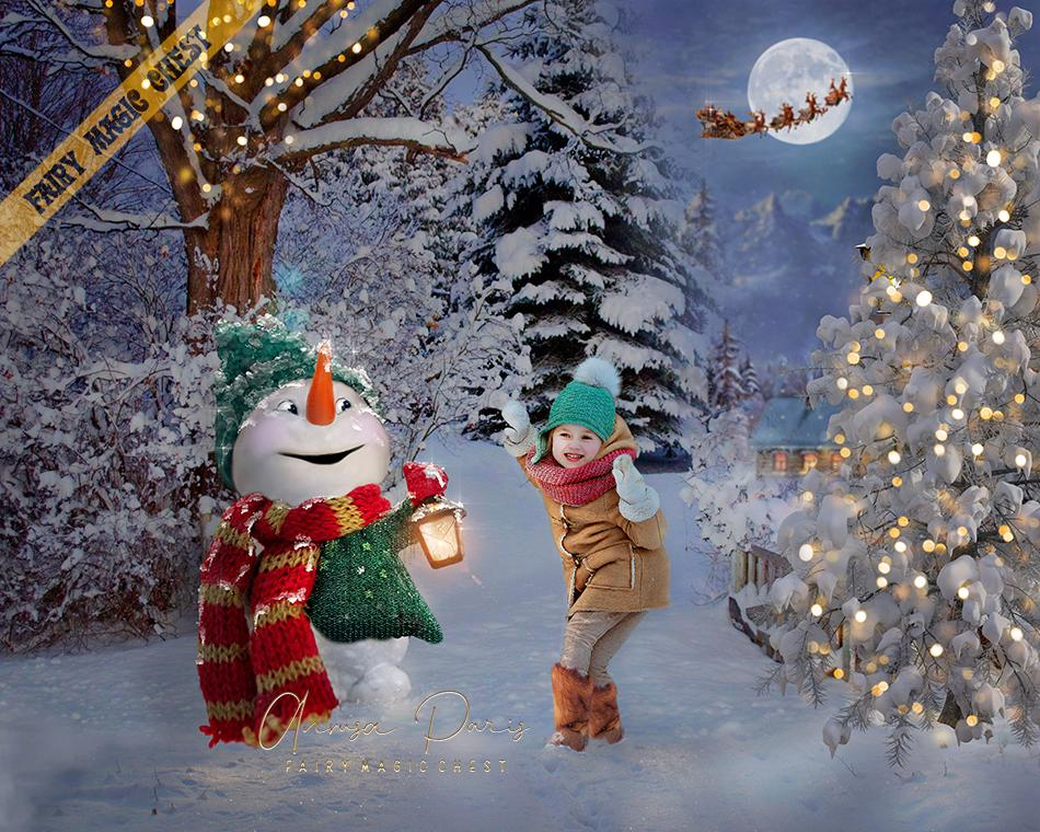 Snowman digital background / backdrop for Christmas