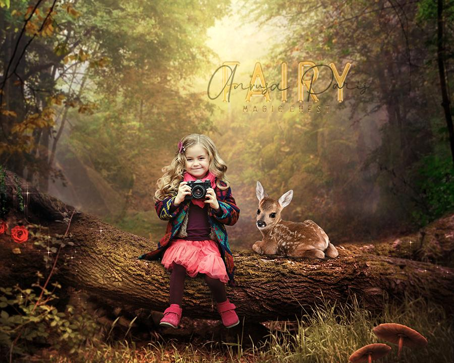 anrusa-paris-fairy-magic-chest - Digital background baby deer on tree log , creamy forest digital backdrop - Fairy Magic Chest & Anrusa Paris - digital background / backdrop
