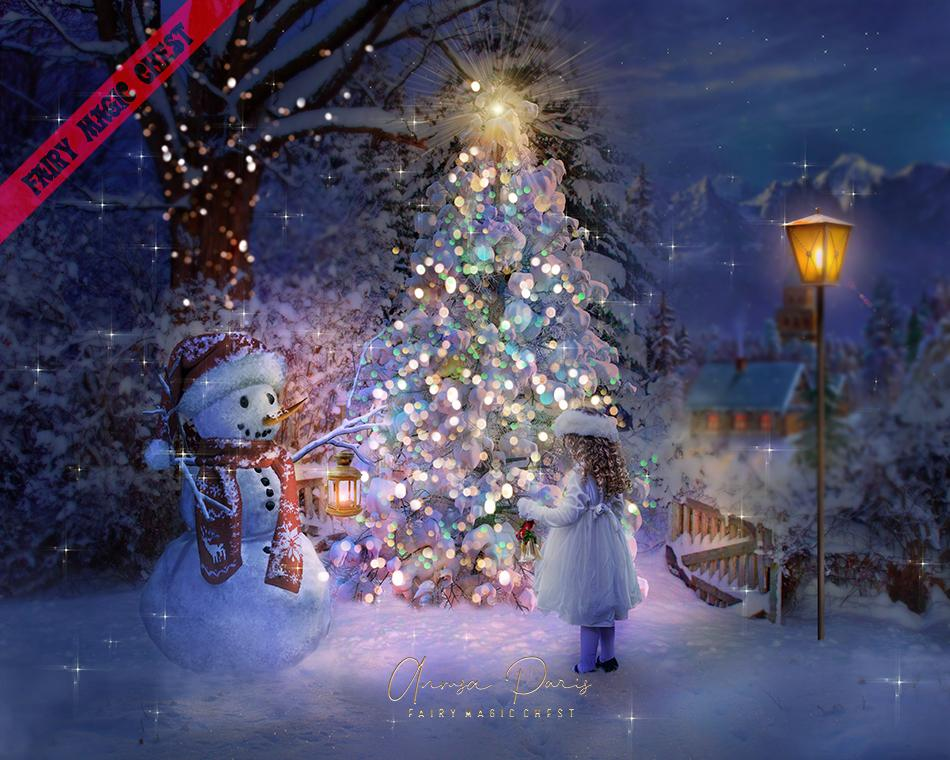 Digital background Christmas tree and snowman