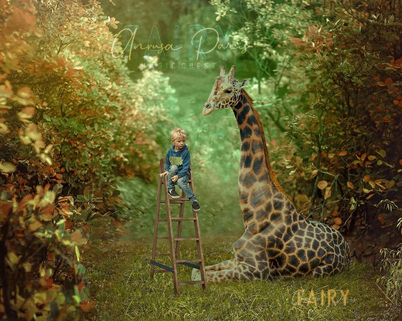Digital background big giraffe and ladder