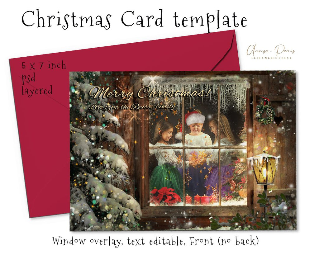 anrusa-paris-fairy-magic-chest - Photo Christmas Card template, Christmas window overlay, text editable - Fairy Magic Chest & Anrusa Paris - Template