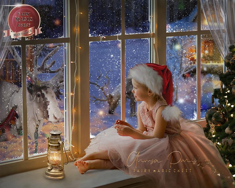 Christmas digital background , big snowy window and reindeers